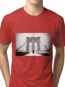 Man on Brooklyn Bridge Tri-blend T-Shirt