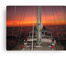 YACHT RED BOOMER II SUNSET Canvas Print