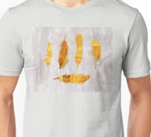 Striped Gold Ombre Feathers IV, Fall colours watercolour glitter Unisex T-Shirt