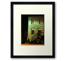 Night Alley And Building Framed Print