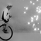 Unicycle Rider on the verge of fascination and discovery by Scott Mitchell