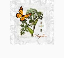 Cottage style Angelica herb Butterfly Botanical illustration art Womens Fitted T-Shirt