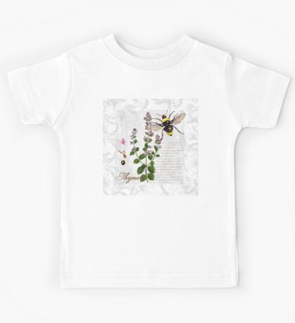 Shabby Chic Thyme herb Bumble Bee illustration art Kids Tee