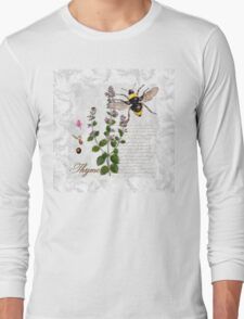 Shabby Chic Thyme herb Bumble Bee illustration art Long Sleeve T-Shirt