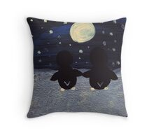 Penguin by Moonlight Throw Pillow