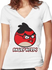 Angry Nerds Women's Fitted V-Neck T-Shirt