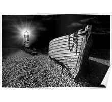 fishing boat graveyard after dark Poster