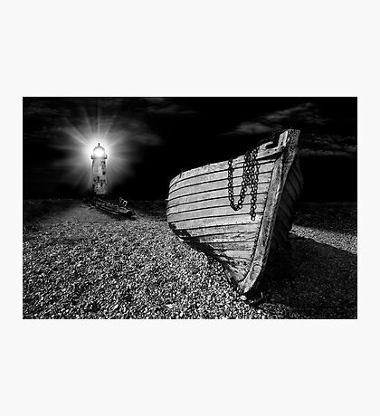 fishing boat graveyard after dark Photographic Print