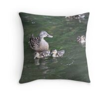 Duck with Ducklings Throw Pillow