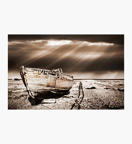fishing boat graveyard toned Photographic Print