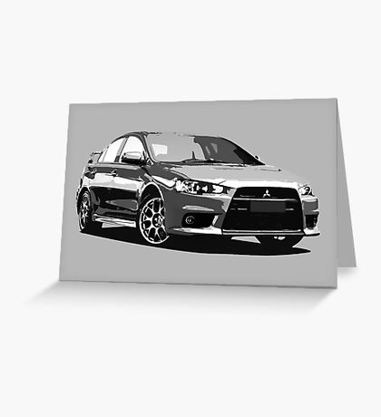Mitsubishi Evolution X Sticker / Tee - Posterised/Greyscale design Greeting Card