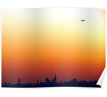 Leaping over tall buildings in New York City  Poster