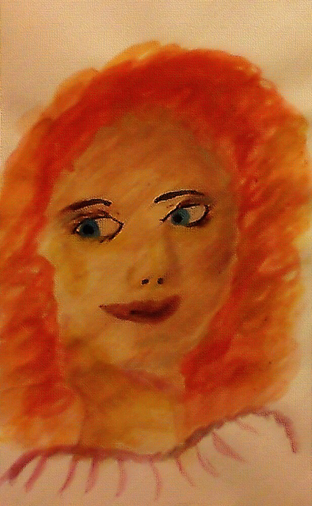 Portrait of myself as a child, watercolor by Anna  Lewis