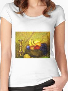 FRUIT AND CANDLE STILL LIFE Women's Fitted Scoop T-Shirt