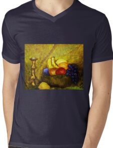 FRUIT AND CANDLE STILL LIFE Mens V-Neck T-Shirt