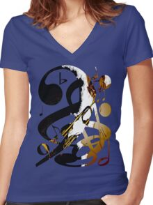 Jazz Note Blue Women's Fitted V-Neck T-Shirt
