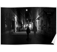 A Viennese Street at Night Poster