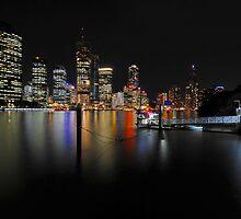 Brisbane River & City By Night. Queensland, Australia. (2) by Ralph de Zilva