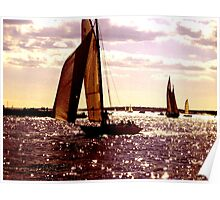 Warm Lilac Day - Sailboat Silhouette on Sparkling Waters Poster