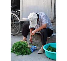 Beijing 2006 - Bundling the herbs Photographic Print