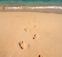 Footprints in the sand by Pierre Leclerc