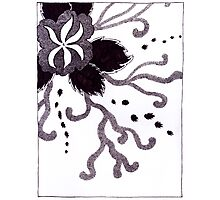 Pen and Ink Flower and Vines Photographic Print