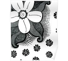 Another Ink Flower and Leaves Poster