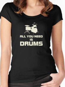 All You Need Is Drums White Women's Fitted Scoop T-Shirt