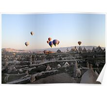 Hot air balloons over Cappadocia Poster