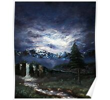 'Distant Waterfall' Oil Painting Poster
