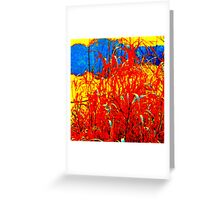 Red Reeds By The Lake Greeting Card