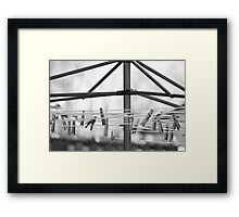 Clothespins on the Line In Black and White Framed Print