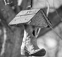 Redneck Cowboy Boot Birdhouse B&W by Bo Insogna