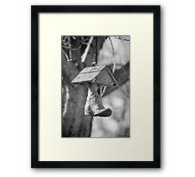 Redneck Cowboy Boot Birdhouse B&W Framed Print
