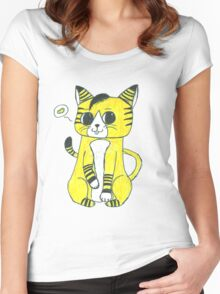 Hand drawn little hipster cat. Women's Fitted Scoop T-Shirt