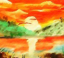 Orange sunrise for fishing,  watercolor by Anna  Lewis, blind artist