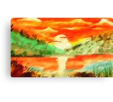 Orange sunrise for fishing,  watercolor Canvas Print