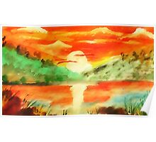 Orange sunrise for fishing,  watercolor Poster