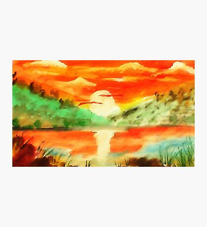 Orange sunrise for fishing,  watercolor Photographic Print