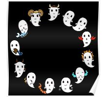 Cute ghost zodiac signs v2 Poster