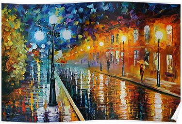 BLUE LIGHTS - LEONID AFREMOV by Leonid  Afremov
