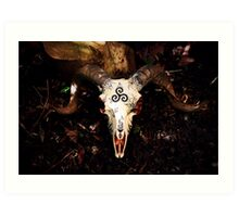 'Life, Death, Rebirth' Ram Skull Art Print