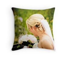 The Bride and her Flowers Throw Pillow