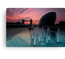 Southbank Sunrise: Tower Bridge & City Hall Canvas Print