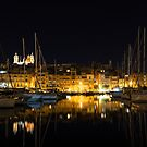 Reflecting on Malta - Senglea Magical Golden Night by Georgia Mizuleva