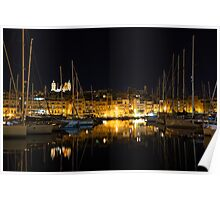 Reflecting on Malta - Senglea Magical Golden Night Poster