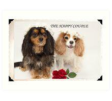 The Happy Couple Cavalier King Charles Spaniel Art Print