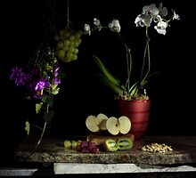 Grapes, Walnuts, Flowers and Fruit by FrankSchmidt