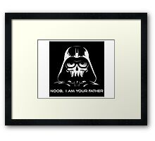 "Funny ""Noob, I Am Your Father"" Darth Vader Design Framed Print"