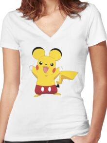 Mickeychu Women's Fitted V-Neck T-Shirt